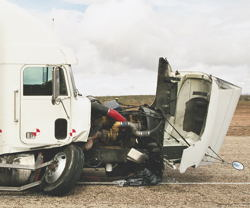 Front End of Semi After the Crash